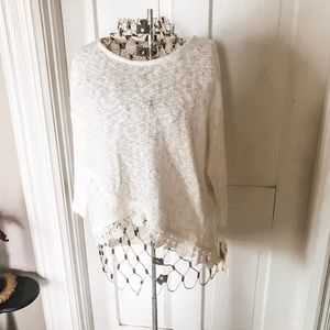 NWT! White Sweater With Lace-Sz. XL